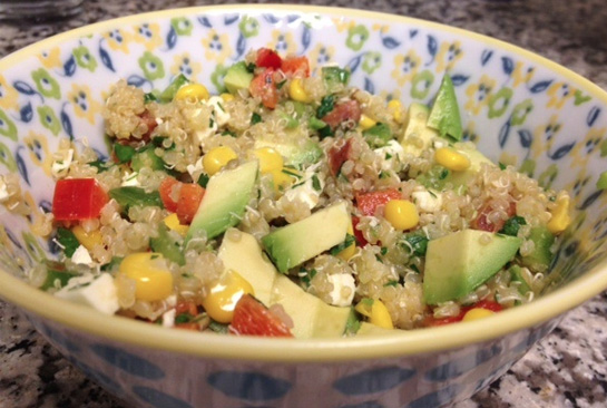 Quinoa with Corn Feta Avocado and Pepper